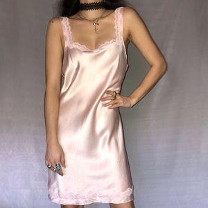 Vintage Silk Baby Pink Slip Dress